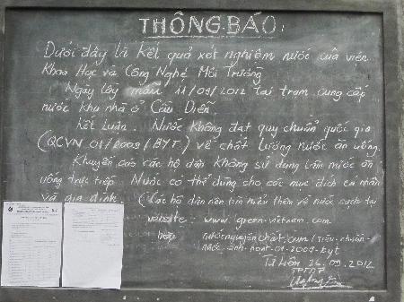 Thông báo về tình trạng nước ô nhiễm tại khu Cầu Diễn, huyện Từ Liêm